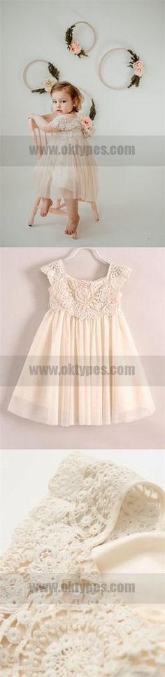 Cup sleeve Top Lace Appliques Ivory Rustic Cute Flower Girl Dresses, T – Oktypes Cute Flower Girl Dresses, Tulle Flower Girl, Girls Dresses, Cup Sleeve, Lace Tops, Lace Applique, Dream Dress, Appliques, Dress Making