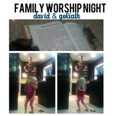 """Family Worship Night Idea: Read Story # 58 then make 5 """"stones"""" out of paper to throw at """" Goliath"""". This one was a hit!!! The best part of this is seeing your husband ( the Philestine ) in a skirt!!!"""