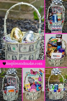 Do you want to make a gift basket look extra special? You can with these 7 Ways To Create A Unique Money Gift Basket ideas. These ideas would work perfectly on an Easter Basket, a graduation basket, or a birthday surprise gift basket. Holiday Crafts For Kids, Easter Crafts For Kids, Holiday Fun, Holiday Money, Boys Easter Basket, Easter Baskets, Unique Easter Basket Ideas, Raffle Baskets, Picnic Baskets