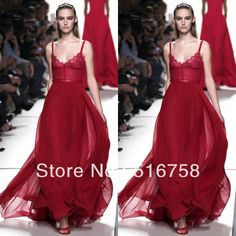 Free Shipping Spaghetti Strap Lace Empire Waist Flowing Red Chiffon Elie Saab Spring 2014 Evening Dress Long US $119.00