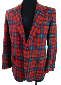 Vintage Mens Fashion Pendleton Red Plaid Sport Coat 42