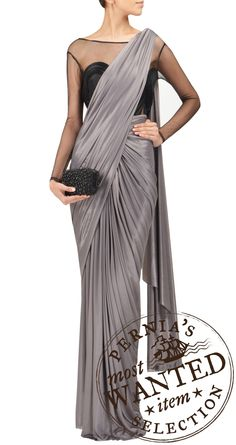 AMIT AGGARWAL Grey jersey saree with sheer black leotard blouse piece. would love this in shimmery beige. Saree Gown, Satin Saree, Sari Dress, Indian Blouse, Indian Sarees, Indian Attire, Indian Wear, Indian Dresses, Indian Outfits