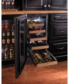 Perlick wine cooler - Built in with beer refrigerator beside it.