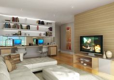DECORAÇÃO escritório madeira e branco - Pesquisa Google Apartment Floor Plans, Home Theater, Decoration, Corner Desk, Family Room, Sweet Home, Flooring, Living Room, Interior Design