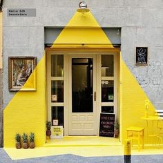 This would be awesome in front of a single meeting room, the yellow pops and invites people in