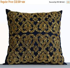 Blue Silk Throw Pillow Cover Embroidered Cushions by AmoreBeaute Gold Accent Pillows, Gold Pillows, Throw Pillow Covers, Throw Pillows, Decor Pillows, Sequin Pillow, Embroidered Cushions, Decorative Pillows, Decor Wedding