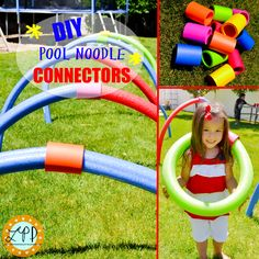A Little Pinch of Perfect: DIY Pool Noodle Connectors for Fun Outdoor Play (cup holders/insulated ones) Pool Noodle Crafts, Outdoor Play, Outdoor Games, Outdoor Crafts, Outside Games, Summer Fun For Kids, Play Pool, Water Party, Backyard For Kids