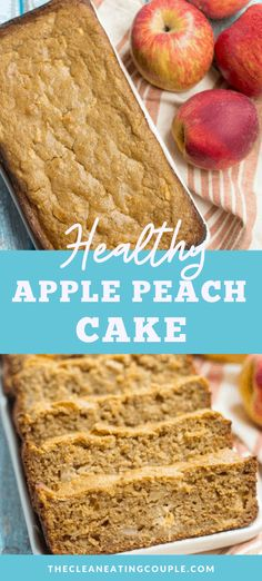 Healthy Apple Peach Cake is a delicious breakfast or dessert treat. Whole grains, sweet peaches, apples   warm fall spices make the perfect combination. #healthy #fall #peach #apple #cake #healthydessert