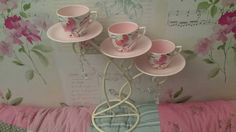 Gorgeous vintage china teacup up-cycled candelabra. A bespoke and beautiful statement piece for you home. 3 matching pink and cream teacups