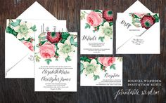 Printable Wedding Invitation Suite Floral by PrintableWisdom