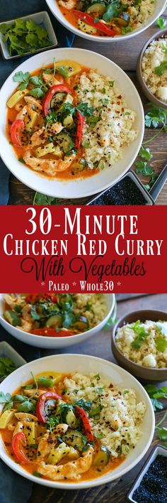 30-Minute Chicken Red Curry with Vegetables - an easy paleo, whole30 healthy dinner recipe