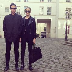 Chiara Ferragni and her boyfriend LA-based photographer Andrew Arthur in all black matching outfits at Paris fashionweek 2013 #coolkids