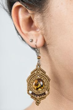 Macrame earrings with Amber