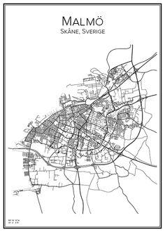 Malmö. Sverige. Karta. City print. Print. Affisch. Tavla. Tryck.