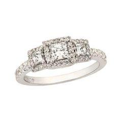 1 CT. T.W. Princess-Cut Diamond Three Stone Past Present Future Frame Ring in 14K White Gold - Zales