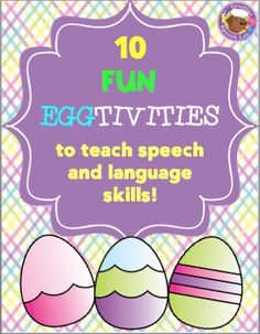 Don't throw those plastic Easter eggs away! 10 creative activities to teach speech and language skills! Speech Therapy Activities, Language Activities, Articulation Activities, Vocabulary Activities, Easter Activities, Physical Activities, Speech Language Pathology, Speech And Language, Easter Speeches