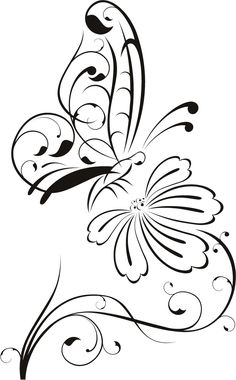 Flower Outline Drawings | Butterfly on Flower Outline Floral Wall Decal Wall Stickers Transfers