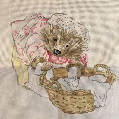 Mrs Tiggy Winkle, handmade cross stitch embroidery.