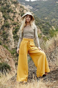 Upbeat Wide Leg Pants by FP Movement at Free People, Yellow, S Modest Fashion, Boho Fashion, Autumn Fashion, Fashion Ideas, Fashion Outfits, Fashion Trends, Style Blog, Trendy Outfits, Summer Outfits