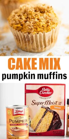These cake mix pumpkin muffins are made with a box of yellow cake mix. Just 4 ingredients and only take 5 minutes to prep! This pumpkin muffin recipe is sure to be a family favorite this fall. Box Cake Recipes, Cupcake Recipes, Fall Cake Recipes, Dessert Recipes, Quick Dessert, Cake Mix Muffins, Cake Mix Cookies, Cake Mix Cupcakes, Cake Mix Desserts