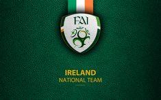 Download wallpapers Republic of Ireland national football team, 4k, leather texture, emblem, logo, football, Ireland, Europe