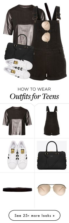 """""""Yves Saint Laurent x Adidas"""" by muddychip-797 on Polyvore featuring Topshop, Steve Madden, New Look, Yves Saint Laurent, adidas Originals, Victoria Beckham, casual, adidas, saintlaurent and fashionset"""