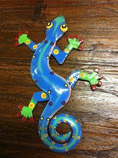 Tropical Gecko Lizard Hand Painted Tiki Decor Haitian Metal Home Garden Yard Art