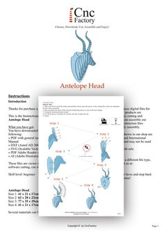 ANTELOPE HEAD  Template cutting file  faux taxidermy by CncFactory