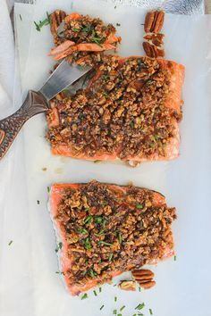 This Baked Pecan Bourbon Salmon is topped with pecans and a maple bourbon sauce, and then baked to juicy, flaky perfection.