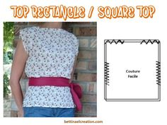 Made in france: Summer Top 2 rectangles Diy Clothes Patterns, Couture Sewing, Tee Shirts, Instagram Posts, Summer, Assemblage, Women, Passion, France