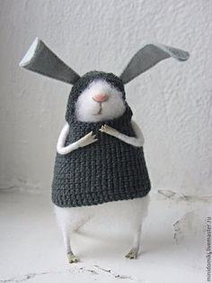 Купить Зайка 2 - мышонок, мышь, заяц, войлок ручной работы, игрушка из шерсти, миниатюра