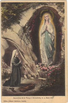 11 February -vintage image of Our Lady of Lourdes and St Bernadette Divine Mother, Blessed Mother Mary, Blessed Virgin Mary, Bernadette Soubirou, St Bernadette Of Lourdes, Religious Images, Religious Art, Madonna, La Salette