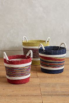 Handmade Market Stripe Baskets #anthropologie