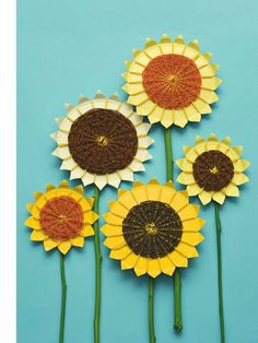 Can't wait for your plants to bloom? Make a bouquet of big, bold sunflowers out of yarn and paper plates.