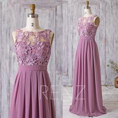 2017 Mauve Bridesmaid Dress Long Dress Lace Illusion Wedding