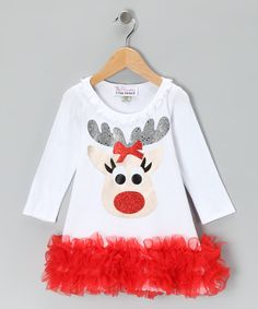 Take a look at this The Princess and the Prince White Reindeer Ruffle Dress - Infant, Toddler & Girls on zulily today!