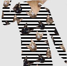 Cats hand-drawn. Fabric cotton jersey Fabric Design, Hand Drawn, How To Draw Hands, Cats, Cotton, Fashion, Moda, Gatos, Kitty Cats