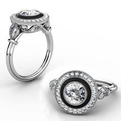 Diamond & Onyx Vintage Halo Ring with scroll Filgee Design triple wire band   #diamonds #onyx