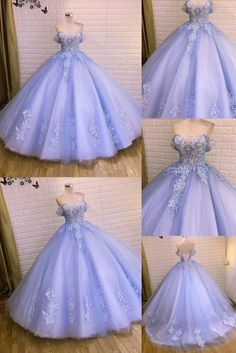 Pretty Quinceanera Dresses, Pretty Prom Dresses, Stunning Dresses, Cute Dresses, Beautiful Gowns, Formal Dresses, Wedding Dresses, Sweet 16 Dresses Blue, Wedding Lace