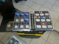 This is how Chad from Facebook (somewhere in the world) stores his Star Trek Attack Wing....   4 inch binder and protector sheets I really like this concept...storing cards is a challenge.....
