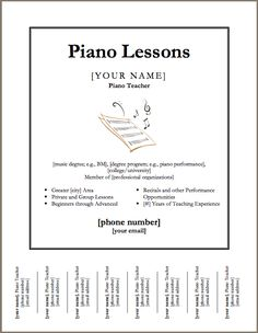 Downloadable template for a poster for piano lessons. except I can't really fill out the whole degree thing yet...