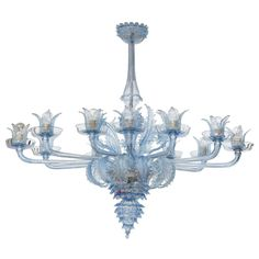 Blue Murano Glass Venetian Chandelier by Barovier & Toso Italy on DECASO.com