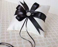 Wedding Ring Bearer Pillow  Black White by LittleDivine on Etsy, $35.00