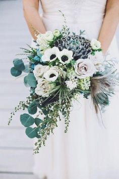 Romantic wedding bouquet inspired by the natural elements of the ocean and it's surroundings.
