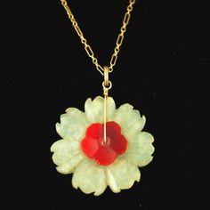 Antique Chinese Carved Jade Coral Flower Pendant 14k Gold | eBay