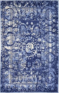 Modern Country 3 feet by 5 feet 3 x 5 La Jolla Blue Contemporary Area Rug >>> Want to know more, click on the image.