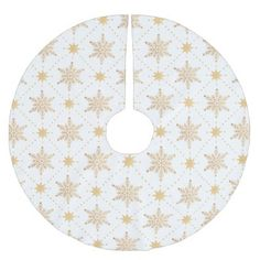Elegant Faux Gold Snowflakes Christmas Patttern Brushed Polyester Tree Skirt - winter gifts style special unique gift ideas