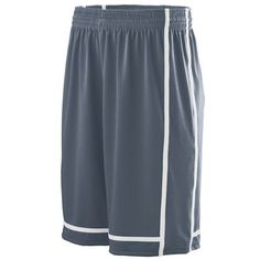 Augusta sportswear. Youth winning streak shorts. Graphite grey and white. Great for youth sports. Customize for your team at Unitedteamsports.com