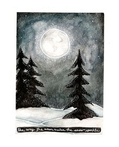 Moon making the snow sparkle by Endofmarch on Flickr.
