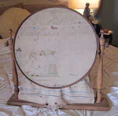 Antique Sampler in Embroidery Stand from KathyBarrick on Etsy Wooden Hoop, Sewing Notions, Cross Stitch Charts, Cool Tools, Fashion Dolls, Needlework, Flower Embroidery, French Fashion, Antiques